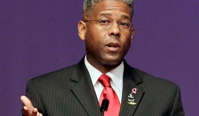 """Former Rep. Allen B. West """"is an example of the courageous and visionary leadership so needed in America at the moment and in such short supply,"""" says Center for Security Policy founder Frank Gaffney. (Associated Press)"""