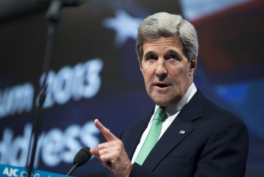 Secretary of State John Kerry speaks at the American Jewish Committee Global Forum in Washington on June 3, 2013. (Associated Press)