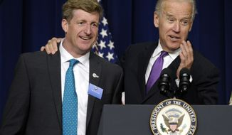 Vice President Joseph R. Biden stands with former Rhode Island Rep. Patrick Kennedy as he speaks at the closing of the National Conference on Mental Health on June 3, 2013, in the South Court Auditorium on the White House complex in Washington. The conference is part of the Obama Administration's effort to launch a national conversation to increase understanding and awareness of mental health. Kennedy was a participant of the conference and was unexpectedly brought up on stage by Biden. (Associated Press)