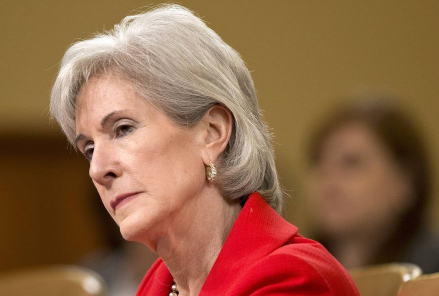 ** FILE ** In this April 12, 2013, file photo, Health and Human Services (HHS) Secretary Kathleen Sebelius testifies on Capitol Hill in Washington, before the House Ways and Means Committee hearing on President Barack Obama's budget proposal for fiscal year 2014, and the HHS. (AP Photo/J. Scott Applewhite)