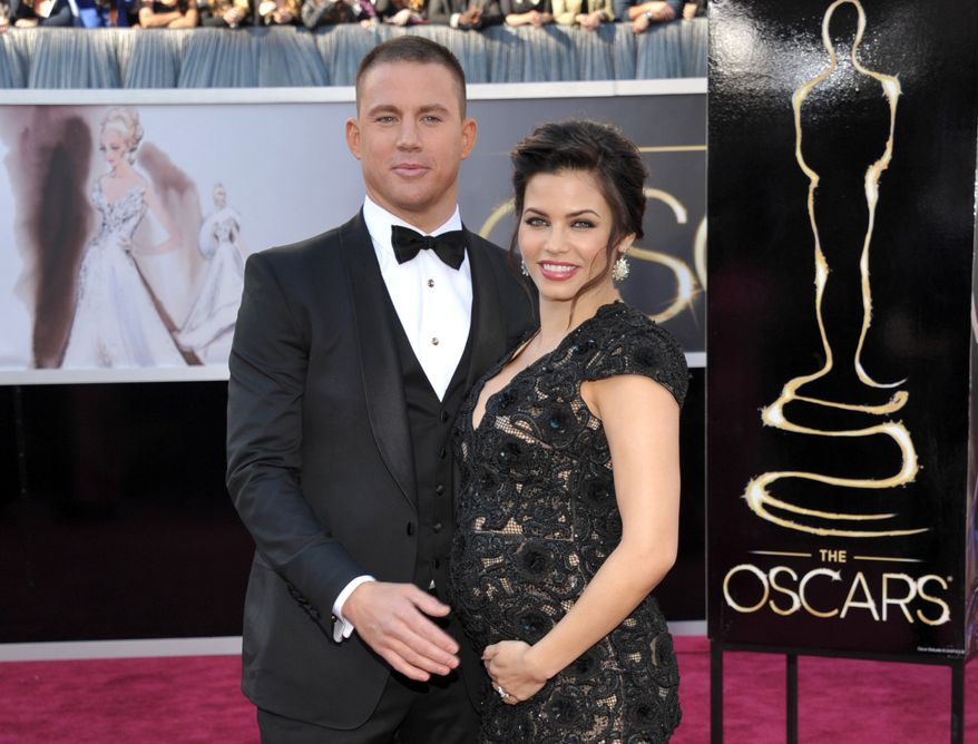 Actors Channing Tatum and his pregnant wife, Jenna Dewan-Tatum, attend the 85th Academy Awards at the Dolby Theatre in Los Angeles on Sunday, Feb. 24, 2013. (John Shearer/Invision/AP)