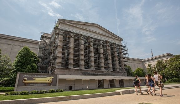 Scaffolding is put in place for renovation efforts at the National Gallery of Art, in Washington, DC Tuesday, May 28, 2013.  (Andrew S Geraci/The Washington Times)