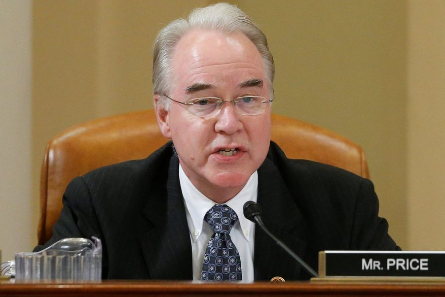 "Rep. Tom Price, Georgia Republican and a physician, says his health care plan won't put the government ""in charge of a doggone thing."" (Associated Press)"