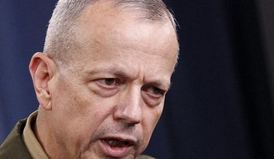 **FILE** Marine Gen. John R. Allen speaks at the Pentagon on May 23, 2012. (Associated Press)
