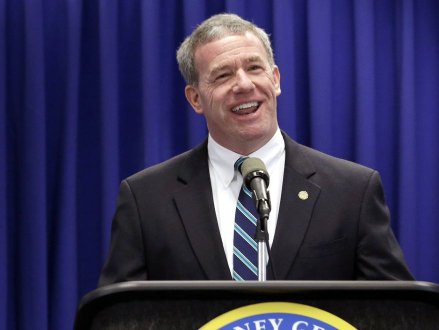 """** FILE ** In this May 23, 2013, file photo, New Jersey Attorney General Jeffrey Chiesa talks about an investigation dubbed """"Operation Swill,"""" at a news conference in Trenton, N.J. New Jersey Gov. Chris Christie has named Chiesa to temporarily fill the U.S. Senate seat that opened up this week after Frank Lautenberg's death. (AP Photo/Julio Cortez)"""