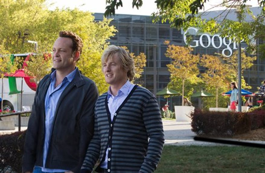 "Owen Wilson, right, and Vince Vaughn in a scene from ""The Internship."" (AP Photo/20th Century Fox, Phil Bray)"