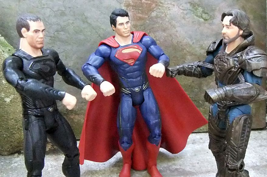 Mattel's Man of Steel: Movie Masters' General Zod, Superman and Jor-El compare fists. (Photograph by Joseph Szadkowski / The Washington Times)