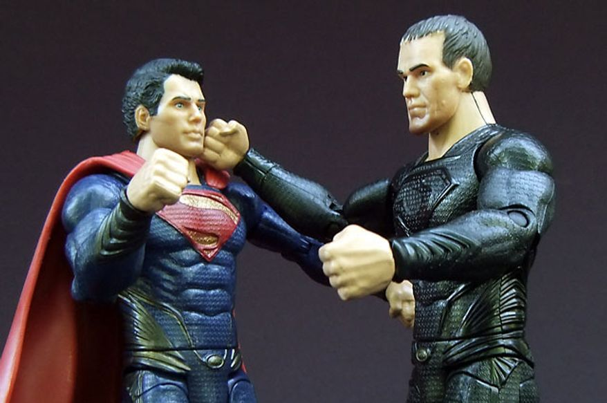 Mattel's Man of Steel: Movie Masters' Superman and General Zod duke it out. (Photograph by Joseph Szadkowski / The Washington Times)