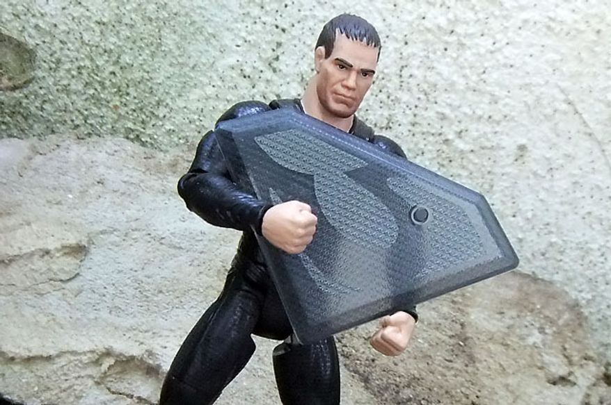 Mattel's Man of Steel: Movie Masters' General Zod shows off his display base. (Photograph by Joseph Szadkowski / The Washington Times)
