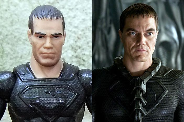 """Mattel's Man of Steel: Movie Masters' General Zod compared to actor Michael Shannon as Zod in the movie """"Man of Steel."""""""