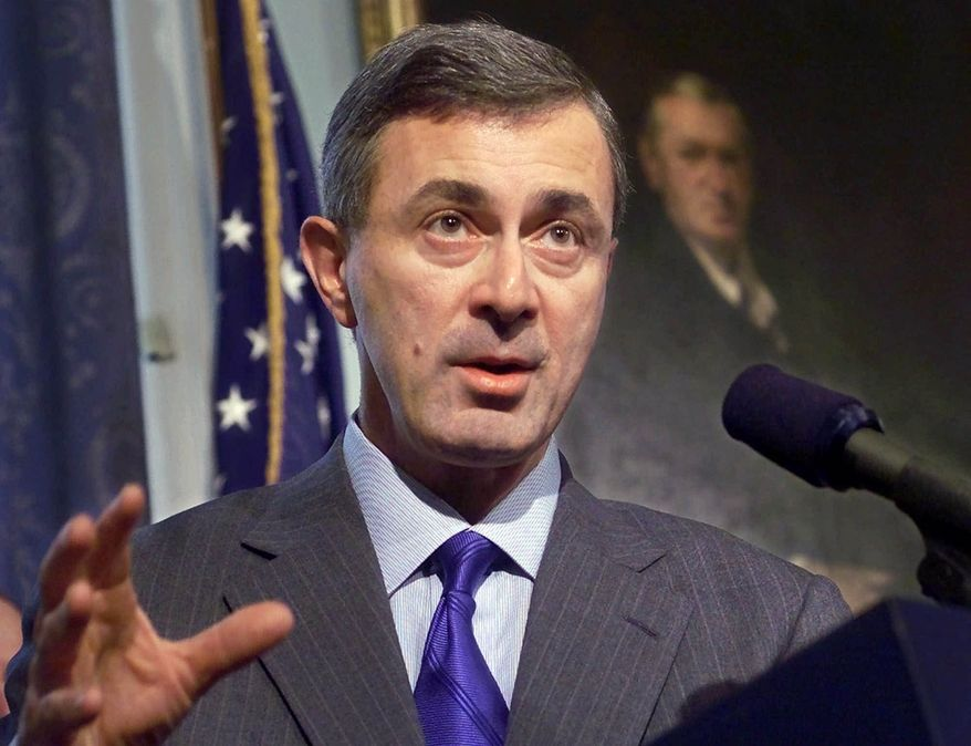 ** FILE ** Massachusetts Gov. Argeo Paul Cellucci addresses members of the media during a news conference at the Statehouse in Boston on Feb. 22, 2000. (AP Photo/Steven Senne)