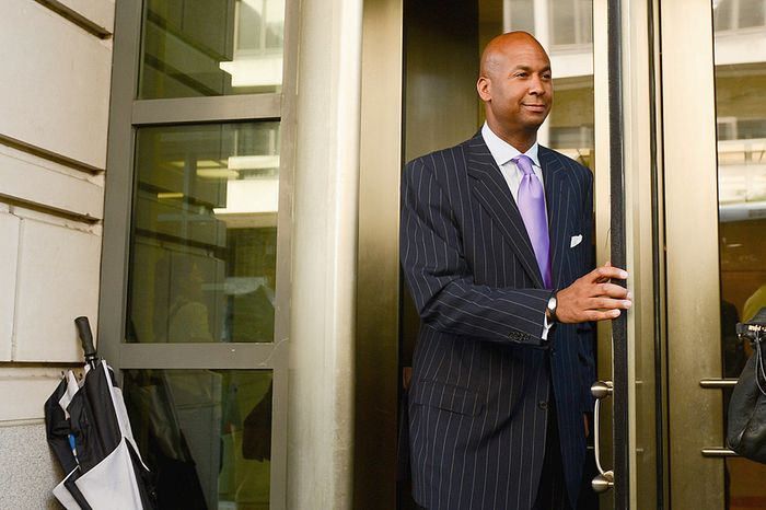 Former D.C. Council member Michael A. Brown faces up to 37 months in prison with three years of supervised release when he is sentenced Oct. 3. The district attorney noted that Brown embarked on his scheme even after guilty pleas from two former colleagues. (Andrew Harnik/The Washington Times)