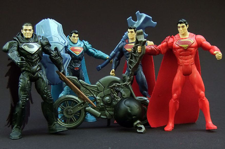 From Left; Shadow Assault Zod, Krypton Combat Superman, Split Cycle Superman and Wrecking Ball Superman, all part of Mattel's Man of Steel 3 3/4-inch action figure collection. (Photo by Joseph Szadkowski / The Washington Times)