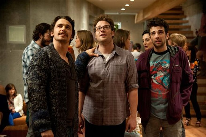 """From left, James Franco, Seth Rogen and Jay Baruchel in a scene from """"This Is The End."""" (AP Photo/Columbia Pictures - Sony, Suzanne Hanover)"""