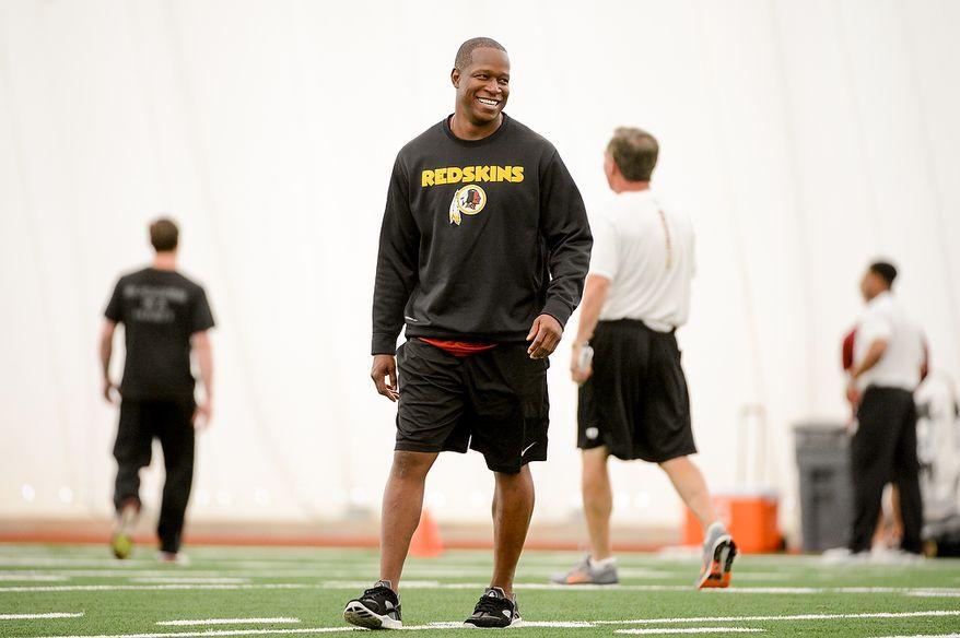 Washington Redskins defensive backs coach Raheem Morris during mini camp at Redskins Park, Ashburn, Md., Tuesday, June 11, 2013. (Andrew Harnik/The Washington Times)