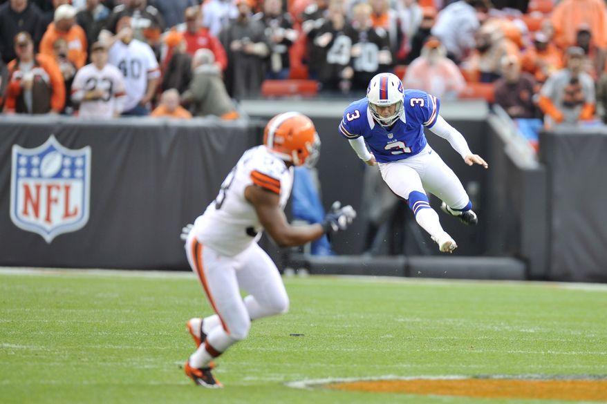 **FILE** Buffalo Bills kicker John Potter kicks off during an NFL football game against the Cleveland Browns Sunday, Sept. 23, 2012, in Cleveland. (AP Photo/David Richard)