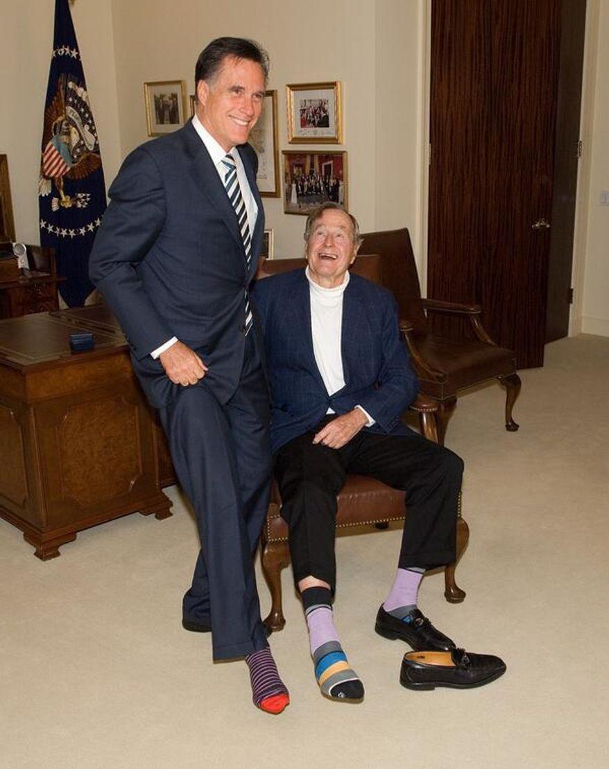 Mitt Romney tweeted this sock photo in honor of George H.W. Bush's birthday.