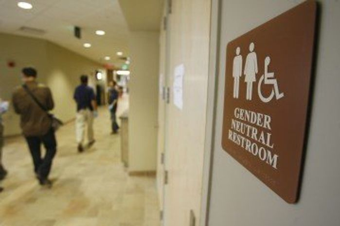 A gender-neutral restroom at the University of Vermont in Burlington, Vt., is seen here in 2007. (Associated Press) **FILE**