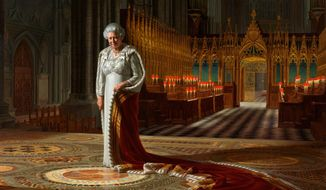 "A painting by Ralph Heimans titled ""The Coronation Theatre, Westminster Abbey: A Portrait of Her Majesty Queen Elizabeth II, 2012,"" was defaced with spray paint at lunch time on Thursday, June 13, 2013, in the abbey in London. (AP Photo/Ralph Heimans/Colin White/Max C/Press Association)"