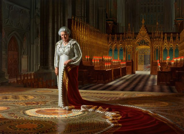 """A painting by Ralph Heimans titled """"The Coronation Theatre, Westminster Abbey: A Portrait of Her Majesty Queen Elizabeth II, 2012,"""" was defaced with spray paint at lunch time on Thursday, June 13, 2013, in the abbey in London. (AP Photo/Ralph Heimans/Colin White/Max C/Press Association)"""