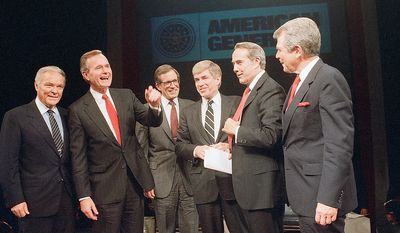 The six Republican Presidential candidates, from left to right are, Alexander Haig, Vice President George Bush, Pierre de Pont, Senators Jack Kemp, Robert Dole and Pat Robertson after they finished their two hour debate in Houston on Wednesday, Oct. 28, 1987. (AP Photo)