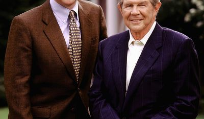 This photo provided by The Christian Broadcasting Network shows Gordon Robertson, left, with his father Pat Robertson in Virginia Beach Va., in this undated file photo.  Robertson is turning over his duties as chief executive officer of the Christian Broadcasting Network to his son but will remain chairman.  (AP Photo/Christian Broadcasting Network, File)