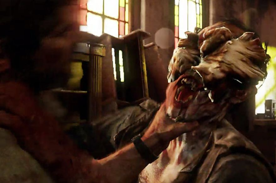 A Clicker tries to bite Joel in the video game The Last of Us.