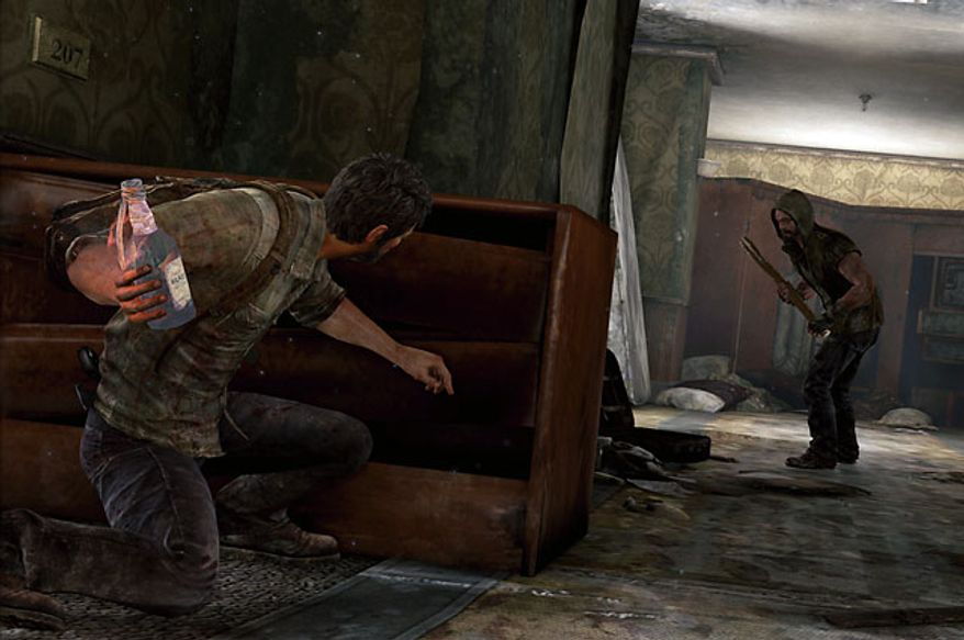 Joel gets ready to toss a Molotov cocktail in the video game The Last of Us.