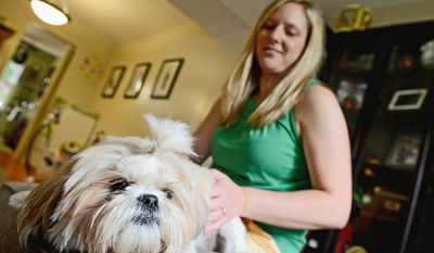 """Chloe's wounds have healed after a violent attack at her previous home, and the 3-year-old Shih Tzu has found a new home in Fairfax County with veterinarian Abby Dunlap and her family. """"[S]he certainly hasn't let it get her down,"""" Dr. Dunlap says."""