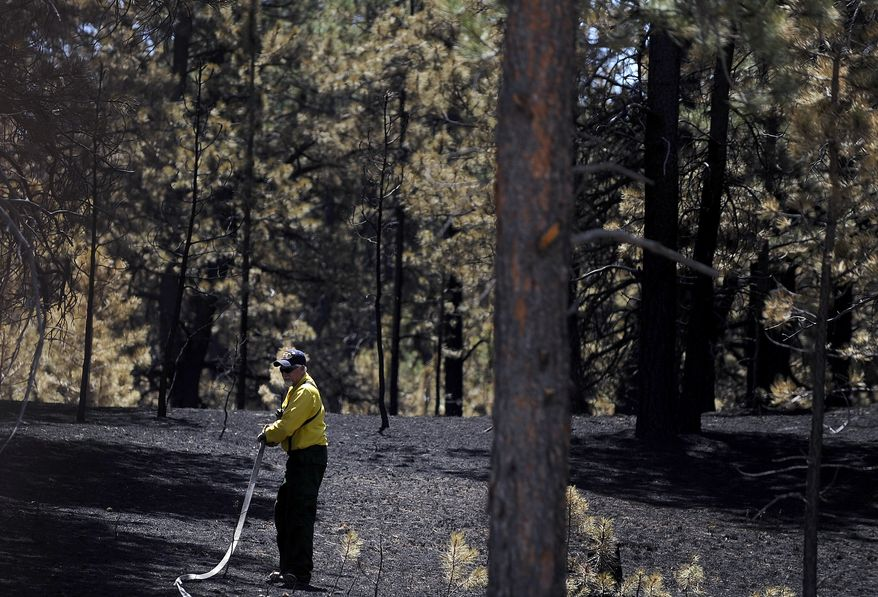 A firefighter douses hot spots as crews continue battling the Black Forest wildfire on Saturday, June 15, 2013, near Colorado Springs, Colo. The fire, which exploded Tuesday amid record-setting heat and tinder-dry conditions, has destroyed hundreds of homes and killed two people. (AP Photo/The Colorado Springs Gazette, Michael Ciaglo)