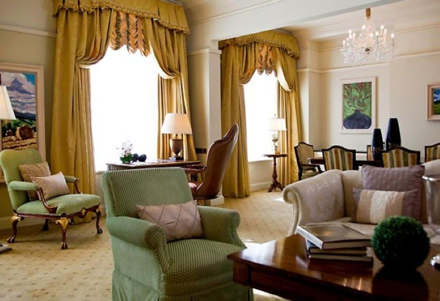 First lady Michelle Obama is said to be staying in the $3,300-per-night Princess Grace Suite at the five-star Shelbourne Dublin, a Renaissance Hotel, during her visit to the Irish capital. (The Shelbourne Dublin, a Renaissance Hotel, website)