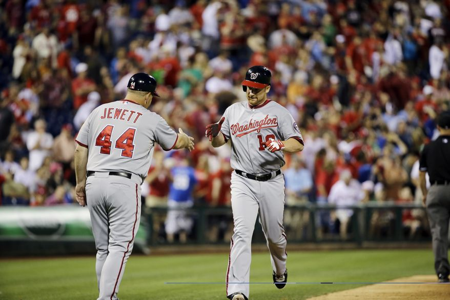 Chad Tracy hit a game-tying home run with two outs in the ninth inning on Monday night, but the Nationals lost to the Phillies in the bottom of the inning. (Associated Press photo)
