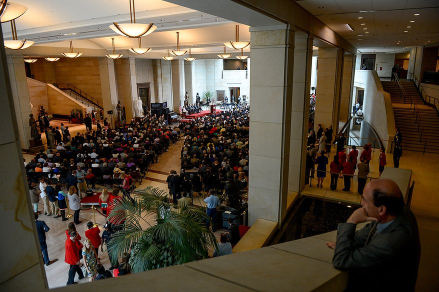 Hundreds gather for a congressional ceremony to commemorate the dedication and unveiling of a statue of Frederick Douglass in Emancipation Hall of the the United States Visitors Center, Washington, D.C., Wednesday, June 19, 2013. (Andrew Harnik/The Washington Times)