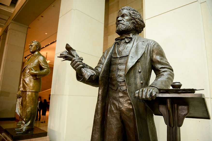 Conservatives must stress historical ties with black icons like abolitionist Frederick Douglass, says Monier Abusaft. Above: statue of Douglass, U.S. Capitol Visitors Center in Washington. (Andrew Harnik/The Washington Times)