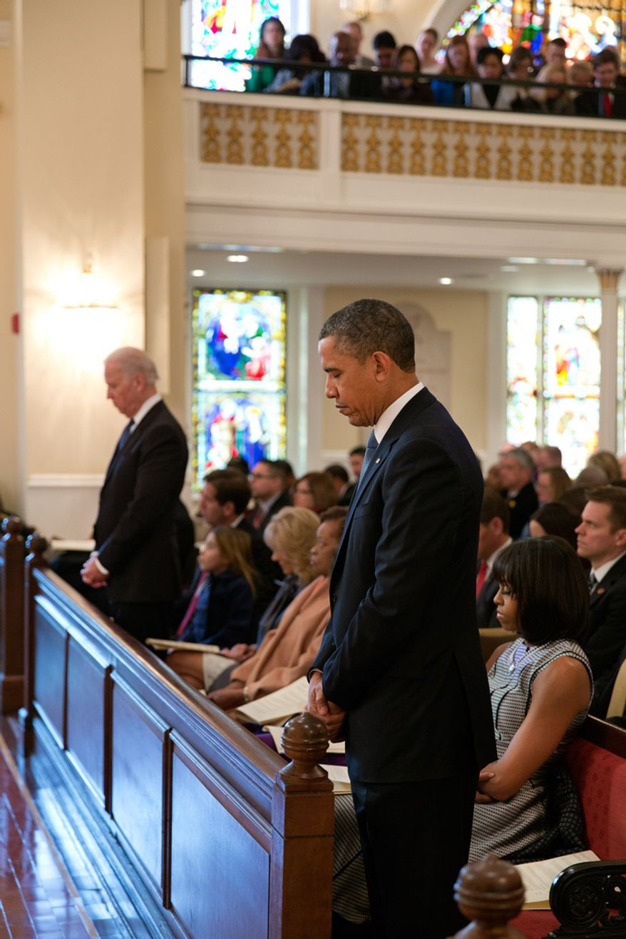 President Barack Obama, First Lady Michelle Obama, Vice President Joe Biden, Dr. Jill Biden, and their families attend an inaugural prayer service at St. John's Church in Washington, D.C., Jan. 21, 2013. (Official White House Photo by Pete Souza)