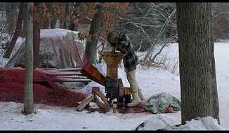 The famous wood-chipper machine scene from the 1996 film Fargo.