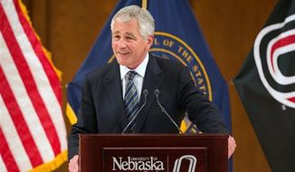 Defense Secretary Chuck Hagel speaks in Strauss Performing Arts Center at his alma mater, the University of Nebraska at Omaha, in Omaha, Neb. on Wednesday, June 19, 2013. (Associated Press)