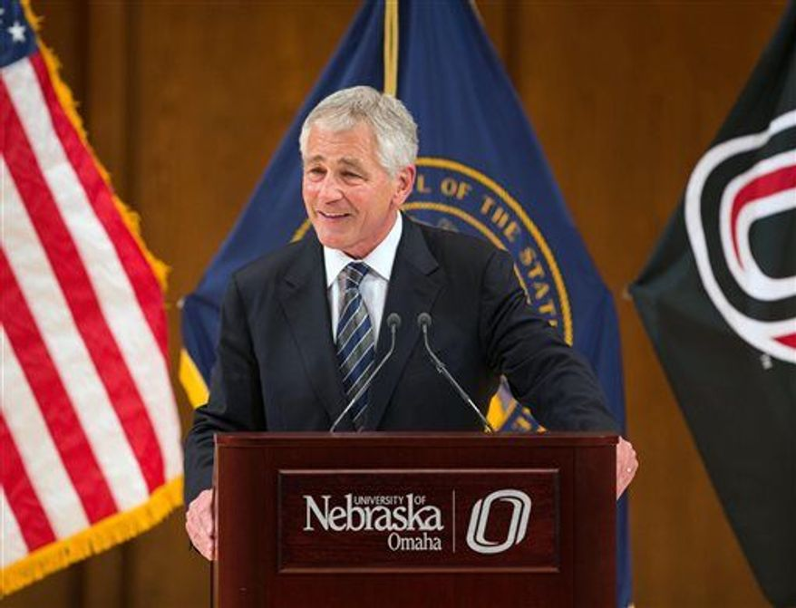 Defense Secretary Chuck Hagel speaks in Strauss Performing Arts Center at his alma mater, the University of Nebraska at Omaha, in Omaha, Neb. on Wednesday, June 19, 2013. (Associated Press)