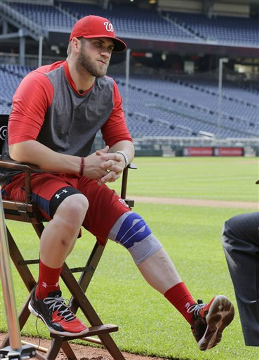 Washington Nationals left fielder Bryce Harper wears a brace on his left knee, during an television interview before a baseball game against the Colorado Rockies at Nationals Park, Thursday, June 20, 2013, in Washington. Harper has been cleared to walk and jog without a knee brace and may resume baseball activities within the next few days according to general manager Mike Rizzo. (AP Photo/Alex Brandon)
