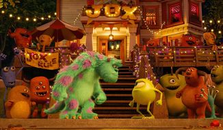 "Mike Wazowski (above), voiced by Billy Crystal, is a striver after he hits the college campus in ""Monsters University."" There he meets Sully (left, center). (Disney-Pixar via Associated Press)"