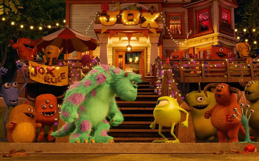 """Mike Wazowski (above), voiced by Billy Crystal, is a striver after he hits the college campus in """"Monsters University."""" There he meets Sully (left, center). (Disney-Pixar via Associated Press)"""