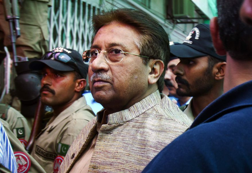 ** FILE ** In this April 20, 2013, file photo, Pakistan's former President and military ruler Pervez Musharraf arrives at an anti-terrorism court in Islamabad, Pakistan. Prime Minister Nawaz Sharif said Monday, June 24, 2013, Musharraf, who ousted him in a coup over a decade ago should be tried for treason. (AP Photo/Anjum Naveed, File)