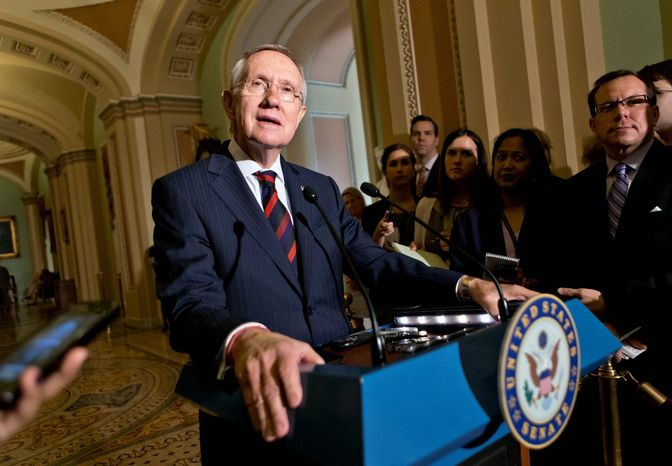 """We're working on this, we can still do it. We have to  make sure everyone's going to give a little,"" Senate Majority Leader Harry Reid says Tuesday afternoon of progress on the immigration bill."