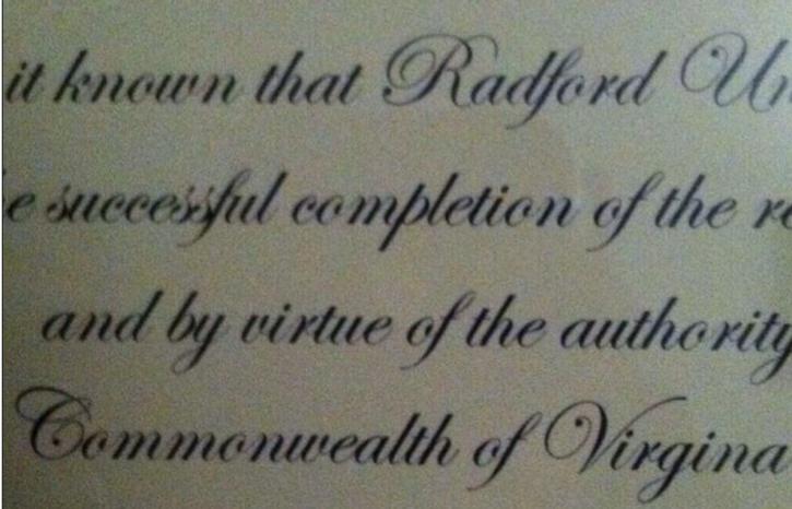 (Screen shot of a Reddit image of a Radford University diploma)