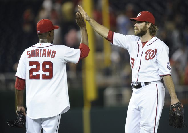 Jayson Werth, right, is dealing with a groin issue but he was 2-for-2 on Tuesday night. (Associated Press photo)