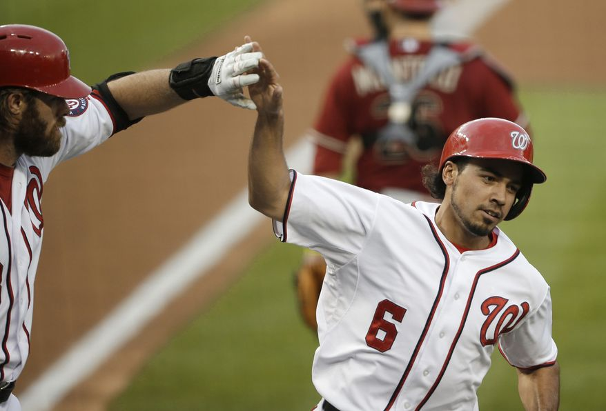 Washington Nationals second baseman Anthony Rendon had three more hits on Wednesday as he improved to .354 on the season and led the Nationals to a 3-2 victory over the Diamondbacks. (Associated Press photo)