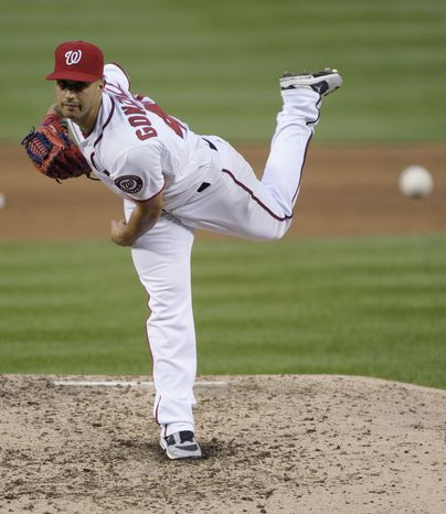 Boosted by the Nationals' offense, Gio Gonzalez pitched 6 1/3 innings to get his fourth win of the season on Tuesday night. (Associated Press photo)