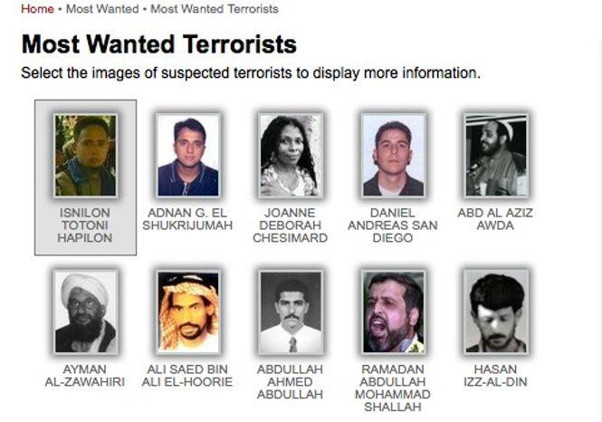"A list of the FBI's 10 ""Most Wanted"" terrorists (FBI)"
