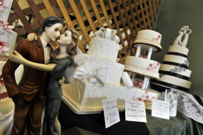 ** FILE ** A wedding cake made by chefs at Masterpiece Cakeshop in Denver, Colo. (Associated Press)