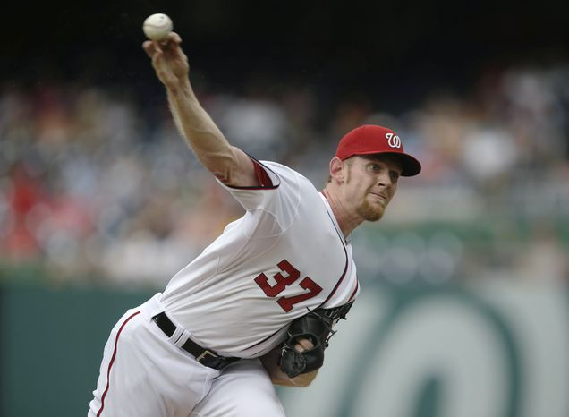 Stephen Strasburg pitched seven innings and allowed just two earned runs in the Nationals' extra-innings loss on Thursday. (Associated Press photo)